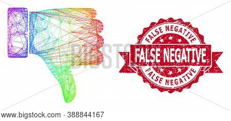Rainbow Colored Wire Frame Thumb Down, And False Negative Rubber Ribbon Stamp. Red Stamp Seal Has Fa