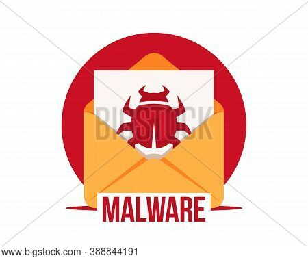 Malware By Email Vector Icon. Virus In The Letter. Virus, Malware, Email Fraud, E-mail Spam, Phishin
