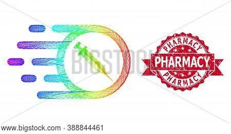 Spectrum Colorful Network Rush Vaccine, And Pharmacy Textured Ribbon Seal Imitation. Red Stamp Seal