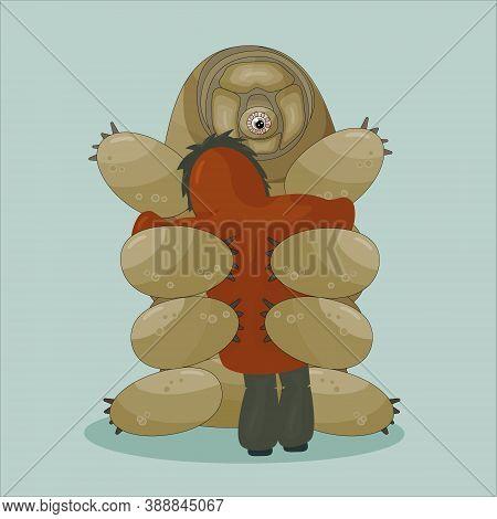 Cartoon Vector Human In Winter Or Autumn Coat Gives A Huge Hug To Tardigrade On Blue Background. Wat