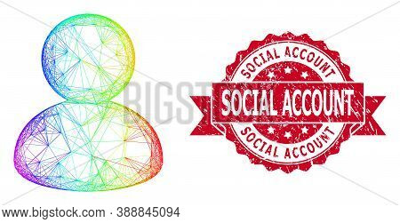 Bright Colorful Wire Frame User, And Social Account Grunge Ribbon Watermark. Red Seal Contains Socia