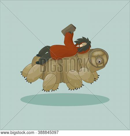 Cartoon Vector Human In Winter Or Autumn Coat Is Lying On His Back And Reading A Book On Tardigrade