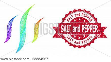 Rainbow Colorful Network Vapor, And Salt And Pepper Grunge Ribbon Seal Print. Red Stamp Seal Contain