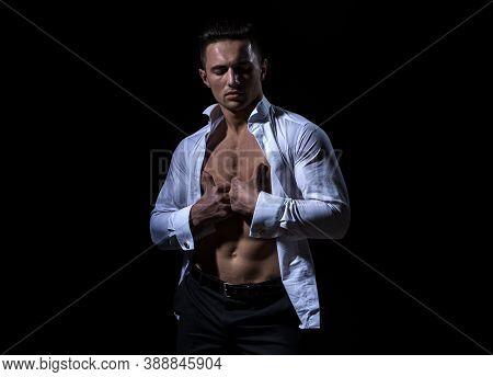 Stylish Handsome Young Man Undress Shirt. Fashion Guy. Naked Body, Nude Bare Torso