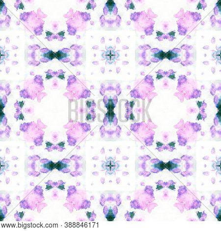Swimwear Fabric Design.  Multicolor Natural Ethnic Illustration. Indigo And Pink Textile Print. Asia