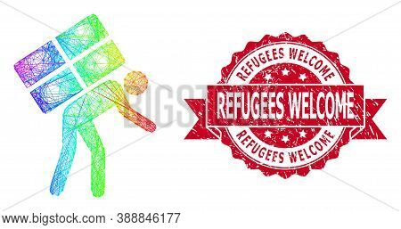 Rainbow Vibrant Net Refugee, And Refugees Welcome Unclean Ribbon Stamp Seal. Red Stamp Includes Refu