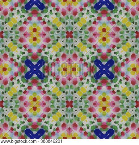 Aztec Rugs. Abstract Shibori Print. Repeat Tie Dye Rapport. Ikat Islamic Design. Blue, Indigo, Yello