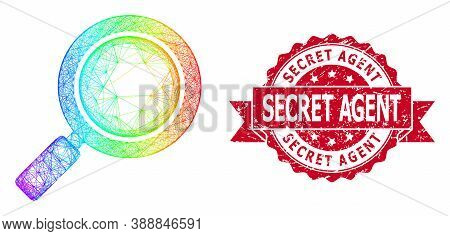 Bright Colored Network Search Loupe, And Secret Agent Rubber Ribbon Seal Print. Red Seal Contains Se