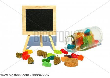 Chalk Board with Edible Gummy Candy. CBD Edibles. Gummy Candies filled with CBD or THC. Cannabis Candy.