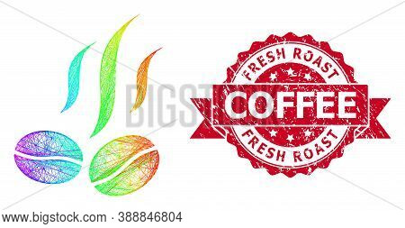 Bright Colored Wire Frame Coffee Beans Smell, And Fresh Roast Coffee Grunge Ribbon Seal. Red Stamp S