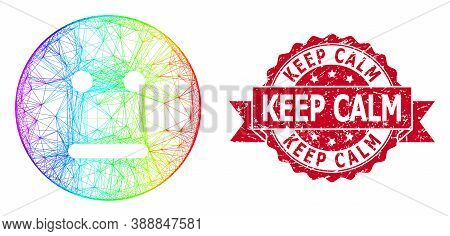 Spectrum Vibrant Network Neutral Smiley, And Keep Calm Corroded Ribbon Stamp Seal. Red Stamp Seal Ha