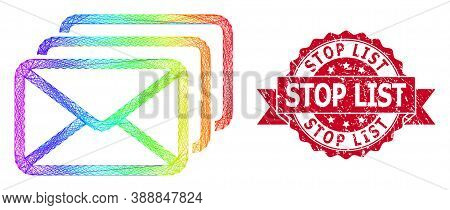 Bright Colorful Net Mail Queue, And Stop List Scratched Ribbon Stamp Seal. Red Stamp Has Stop List T