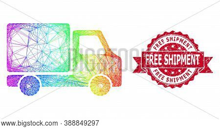 Rainbow Vibrant Net Delivery Car, And Free Shipment Unclean Ribbon Seal. Red Stamp Contains Free Shi