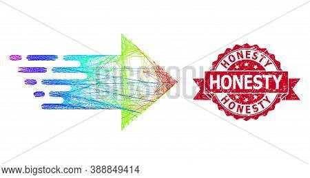 Rainbow Colored Net Right Arrow, And Honesty Textured Ribbon Seal. Red Seal Includes Honesty Tag Ins