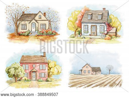 Set With Autumn Landscape With Country Houses And Trees Isolated On White Background. Watercolor Han