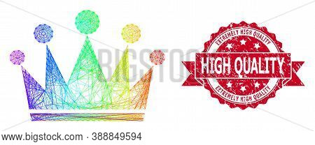 Rainbow Colorful Network Crown, And Extremely High Quality Unclean Ribbon Seal. Red Stamp Seal Inclu