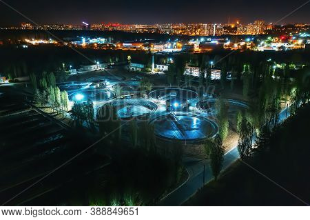 Aerial View At Night Wastewater Treatment Plant, Filtration Of Dirty Or Sewage Water.