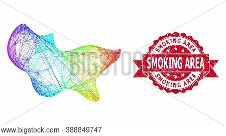 Bright Colorful Wire Frame Spot, And Smoking Area Rubber Ribbon Stamp. Red Stamp Contains Smoking Ar