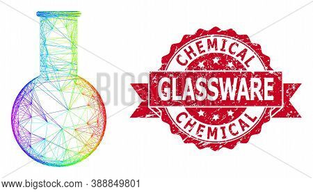 Bright Vibrant Net Chemical Flask, And Chemical Glassware Scratched Ribbon Stamp Seal. Red Stamp Has