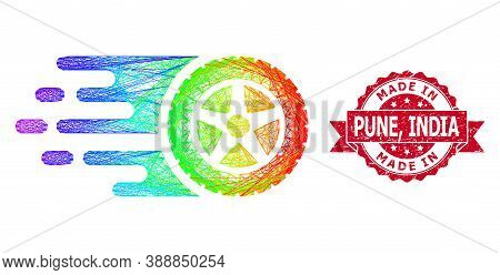 Bright Colorful Network Tire Wheel, And Made In Pune, India Rubber Ribbon Seal. Red Stamp Seal Inclu