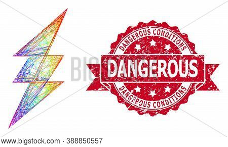 Bright Colored Wire Frame Electric Spark, And Dangerous Conditions Grunge Ribbon Seal. Red Stamp Sea