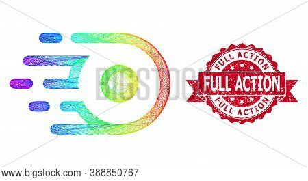 Spectrum Colorful Wire Frame Participle Motion, And Full Action Rubber Ribbon Stamp. Red Stamp Has F