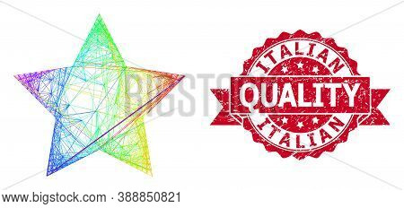 Bright Vibrant Network Red Star, And Italian Quality Rubber Ribbon Seal Print. Red Seal Contains Ita