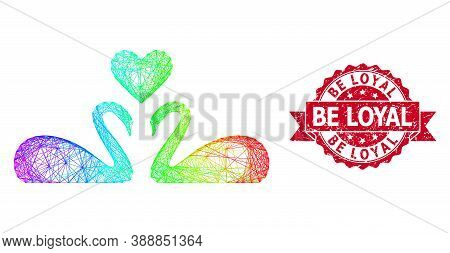 Rainbow Colored Network Love Swans, And Be Loyal Corroded Ribbon Stamp. Red Stamp Contains Be Loyal