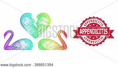 Spectrum Colorful Wire Frame Divorce Swans, And Appendicitis Dirty Ribbon Stamp Seal. Red Seal Conta