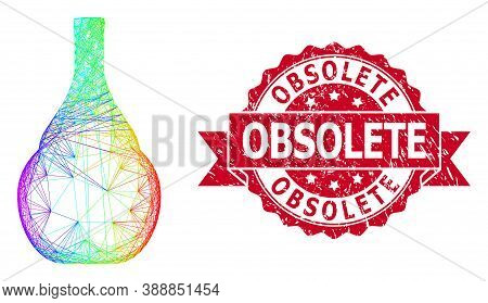 Bright Colored Wire Frame Wine Jug, And Obsolete Scratched Ribbon Seal. Red Seal Has Obsolete Text I