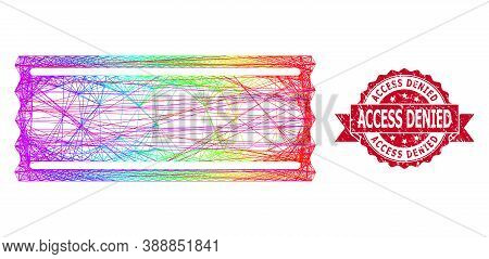 Bright Colorful Net Ticket Template, And Access Denied Dirty Ribbon Stamp Seal. Red Stamp Contains A