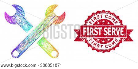 Spectrum Colorful Wire Frame Spanners, And First Come First Serve Unclean Ribbon Stamp Seal. Red Sta