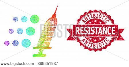 Rainbow Colored Wire Frame Fast Vaccine, And Antibiotic Resistance Rubber Ribbon Stamp. Red Stamp In