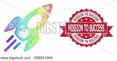 Rainbow Colored Net Space Rocket, And Mission To Success Dirty Ribbon Seal Print. Red Seal Includes