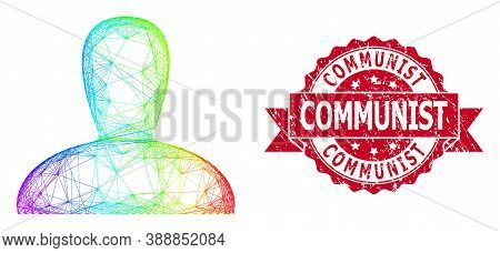 Spectrum Colorful Wire Frame Spawn Persona, And Communist Rubber Ribbon Stamp Seal. Red Stamp Seal I