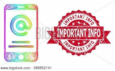 Rainbow Colored Wire Frame Smartphone Address Info, And Important Info Rubber Ribbon Seal Imitation.