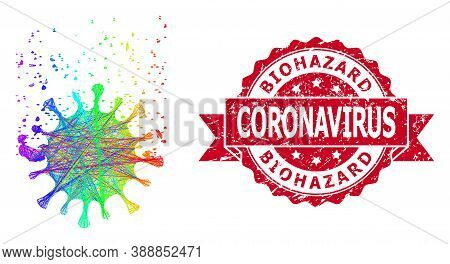 Spectrum Colorful Net Virus Dissipation, And Biohazard Coronavirus Scratched Ribbon Stamp Seal. Red