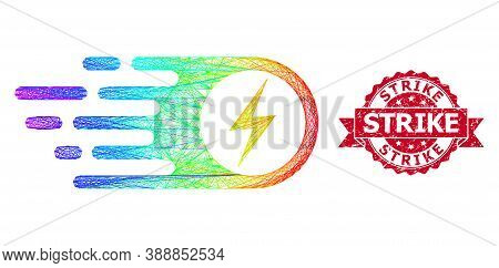 Rainbow Colored Wire Frame Electrical Strike, And Strike Textured Ribbon Stamp Seal. Red Seal Has St