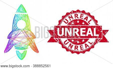 Spectrum Colored Network Rocket Start, And Unreal Textured Ribbon Seal. Red Seal Has Unreal Title In