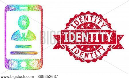 Rainbow Colored Wire Frame Mobile User Info, And Identity Scratched Ribbon Seal Print. Red Seal Incl