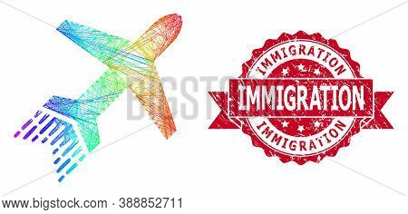 Rainbow Colorful Network Jet Liner, And Immigration Dirty Ribbon Stamp Seal. Red Seal Contains Immig