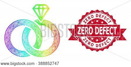 Spectrum Colorful Network Jewelry Wedding Rings, And Zero Defect Rubber Ribbon Stamp Seal. Red Seal