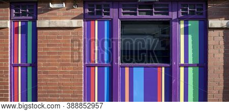 Doncaster,yorkshire, England - October 7, 2020. Building Details Of Windows With Colorful Vertical S