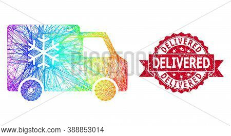 Rainbow Colored Network Refrigerator Car, And Delivered Corroded Ribbon Seal Print. Red Seal Contain