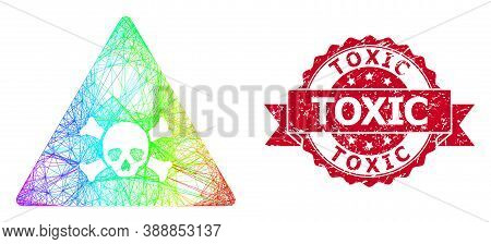 Spectrum Colored Wire Frame Skull Toxic Warning, And Toxic Corroded Ribbon Seal Print. Red Stamp Sea