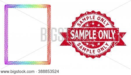 Bright Vibrant Wire Frame Empty Page, And Sample Only Scratched Ribbon Seal Print. Red Stamp Seal Ha