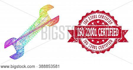 Bright Vibrant Wire Frame Wrench, And Iso 22001 Certified Grunge Ribbon Seal. Red Stamp Seal Contain