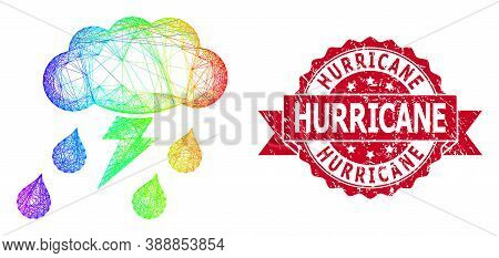 Bright Colorful Wire Frame Thunderstorm, And Hurricane Rubber Ribbon Seal Imitation. Red Seal Contai