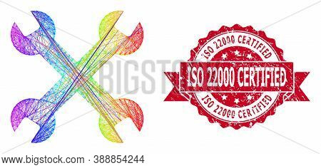 Spectrum Colored Net Wrenches, And Iso 22000 Certified Rubber Ribbon Seal Imitation. Red Stamp Seal
