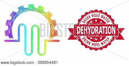 Rainbow Colored Wire Frame Pipe Service Gear, And Drink More Water Dehydration Corroded Ribbon Stamp